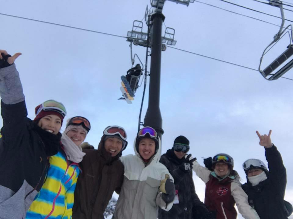 skiing friends